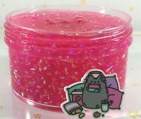"SCENTED Clear SLIME ""GAMER GIRL"" BINGSU Beads Crunchy PINK Glitter Charm 6 8 oz"