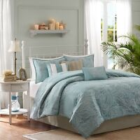 Soft Blue Seashells, Starfish, Beach CAL King Comforter Set 7 Piece Bed In A Bag