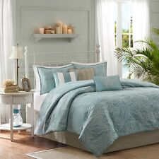 Soft Blue Seashells, Starfish, Beach Queen Comforter Set (7 Piece Bed In A Bag)