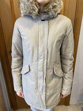 Woolrich Ramar Cotton Nylon Arctic Beige Hooded Fur Down Padded Parka Sz- Large
