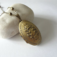 Flower Oval Brass Picture Locket Pendant Necklace