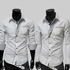 Men's Luxury Formal Shirt Long Sleeve Slim Fit Business Button Dress Shirts Top