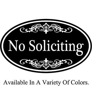 "No Soliciting Sign Aluminum Metal 12"" x 7"" Oval - Variety Of Color Choices"