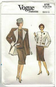 Vogue 9730 Jacket, Pencil Skirt, A Line Coat 1980s Pattern Size 14 16 18 Uncut