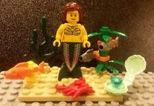 Lego NEW Female Mermaid Minifigure w/ Blue Clam + Jewel, Crab, Fish And Seaweed