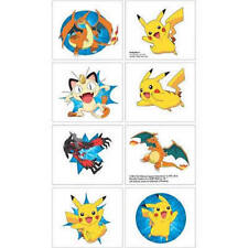 8  Pokemon Tattoos Party Favors Teacher Supply 1 sheet pikachu