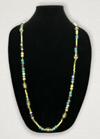 Vintage Necklace Long Glass Beads Green Blue Flapper Mod Holiday Beach Cruise