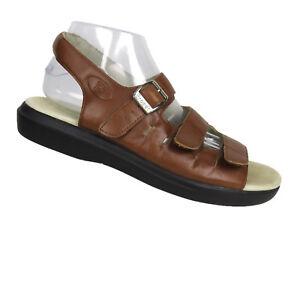 Propet Breeze Sandals Women's Size 10 Brown Leather Buckle Hook & Loop