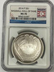 2014 P $1  Baseball Hall of Fame  NGC MS70