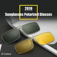 Sunglasses Clip On Flip Up UV400 Driving Glasses Sun Mens Womens Night Vision UK