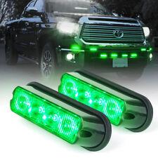 Pair Decorative Light 4 Green LED Strobe Lights Emergency Warning Grille Marker