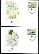 1984    GRENADA  -  CORAL REEF FISH   -  WWF  -  SET OF 4 FDC