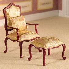 Dolls House 12th Scale Finely Carved Chair & Stool (2423)