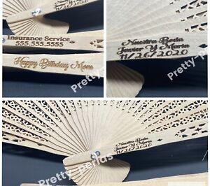 60 Personalized Sandalwood Fans Wedding Bridal Party Favors Laser Engraved Gift