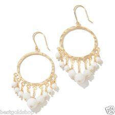 Technibond Round Chandelier White Agate Gemstone Drop Earrings 14K Clad Silver