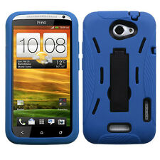 HTC ONE X DUAL LAYER HARD COVER+SILICONE HYBRID CASE W/KICKSTAND BLUE