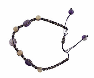 Bracelet Macrame Amethyst Stone Real Creation Hand Made 21269