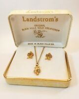 Vintage Landstroms 10K Black Hills Gold Leaf and Grapes Pendant and Earring Set