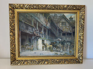 The Departure painting print o canvas by F M Bennett textured effect gilt frame