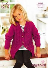 Stylecraft 8933 Knitting Pattern Girls Ladies Cardigan in Life Aran
