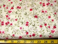 """BTY IVORY GREEN PINK RED FLORAL  LATTICE  ALL COTTON FABRIC SPRINGS 42"""" JOANN'S"""