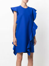 MSGM Blue Ruffle Sleeveless Dress in Size 48, US 12