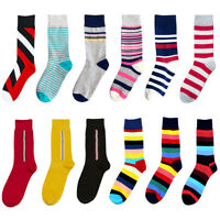 Mens Fashion Colorful Loafer Socks Stripe Casual Dress Funky Warm Mid Calf Socks