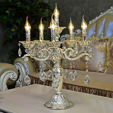 Tischlampe Silber Barock E14 6-Armig Tischleuchte Kristallglas Lüster Lampe