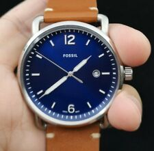 NEW OLD STOCK FOSSIL COMMUTER FS5325 BLUE FACE LEATHER STRAP QUARTZ MEN WATCH