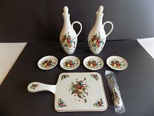 New Lenox Holiday Tartan Christmas 2 Oil & Vinegar 5 Dish 1 Cheese Board Spread