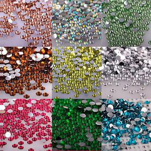 Lot 1000Pcs Nail Art Flatback Crystal AB Facets Resin Round Rhinestone Bead 2mm