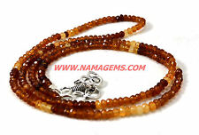 "Handmade Hessonite Garnet Gemstone 4-5 mm Rondelle Faceted 16"" Beaded Necklace"