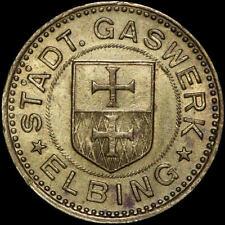 GASMARKE: Messing-Marke. STÄDTISCHES GASWERK ELBING / WESTPREUSSEN ⇒ ELBLĄG.