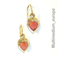 333 er Gold Ohrringe Koralle Herz 8ct 8kt yellow gold earrings coral Gelbgold