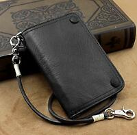 Men's Motorcycle Biker Trucker Real Leather Hasp Wallet Purse W/ Chain