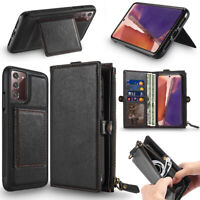 Men's Leather Kick Stand Wallet Case Card Holder Zipper for Samsung Galaxy S20