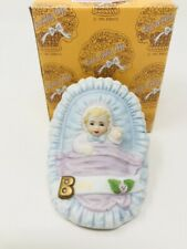 Enesco Growing Up Girls Baby in Cradle Birthday Figurine Vintage 1983 E-3399