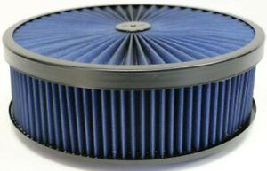 "14"" X 4"" Round Blue High Flow Thru Washable Air Cleaner Flat Base Lid SBC 350"