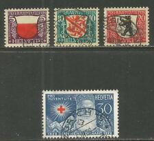 Switzerland 1928 Pro Juventute--Attractive Heraldry Topical (B45-48) fine used