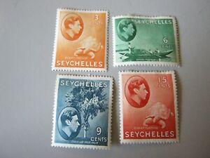 SEYCHELLES 1938-49 3c ORANGE, 6c GREEN, 9c DULL BLUE, 15c BROWN-RED MINT