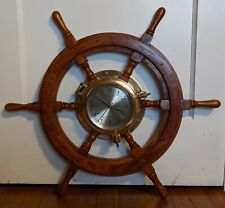 IMMACULATE WORKING ~ SHIP'S TIME ~ SOLID BRASS PORTHOLE & WOOD WHEEL WALL CLOCK