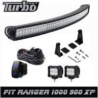 "50"" Curved LED Light Bar + 2x 4"" Pod Wiring Kit Fit Polaris Ranger XP 900 1000"