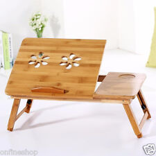 Bamboo Adjustable Laptop Desk Breakfast Serving Bed Tray w' Tilting Top Drawer