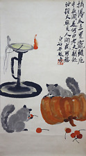"""RARE Chinese Hanging Painting & Scroll """"老鼠吃南瓜"""" By Qi Baishi 齐白石 WED256"""