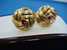 !GORGEOUS 14K YELLOW GOLD MEN'S KNOT CUFFLINKS WITH GENUINE RUBIES, 13.5 GRAMS