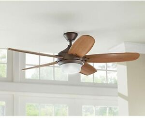 Breezemore 56 in. LED Indoor Mediterranean Bronze Ceiling Fan Light and Remote