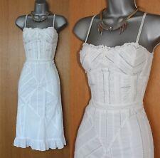 KAREN MILLEN White Embroidered Adjustable Straps Flare Summer Holiday Dress 12