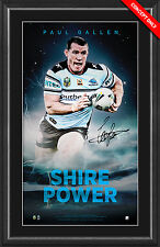 CRONULLA SHARKS 2016 NRL PREMIERS PAUL GALLEN SIGNED FRAMED LIMITED PRINT