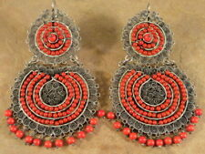 BIG Beautiful Mexican Mexico Sterling Silver & Red Coral Frida Earrings