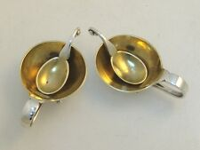 Georg Jensen Salt Cellars Matching Spoons Sterling 1925